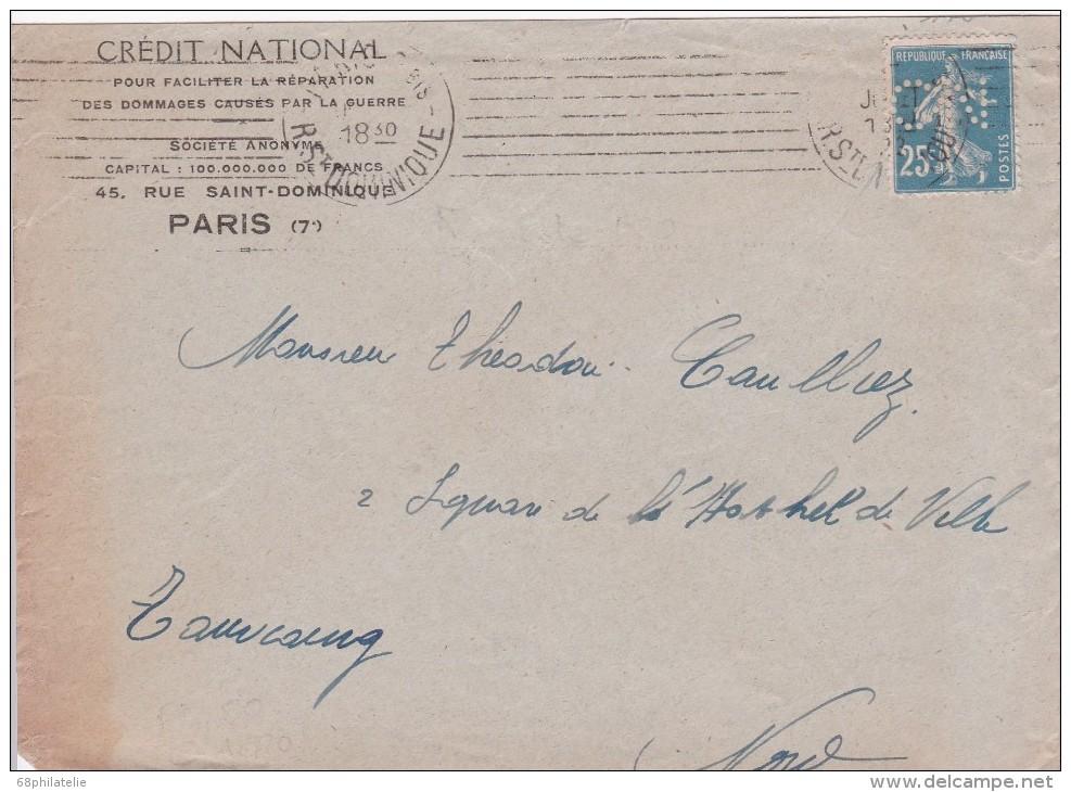 FRANCE  LETTRE DE PARIS TIMBRE PERFORE - France