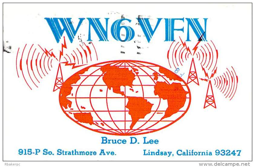 Amateur Radio QSL - WN6VFN - Lindsay, CA -USA- 1975 - 2 Scans - Radio Amateur