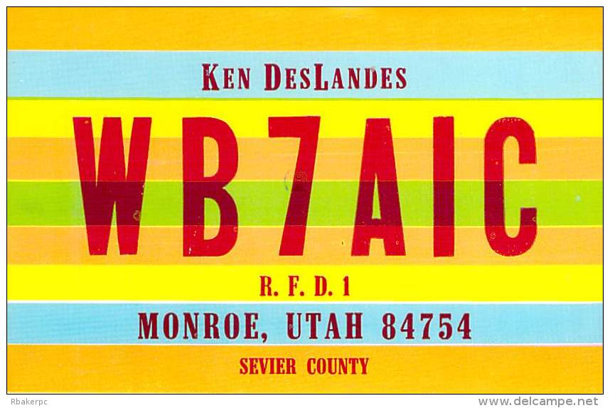 Amateur Radio QSL - WB7AIC - Monroe, UT -USA- 1975 - 2 Scans - Radio Amateur