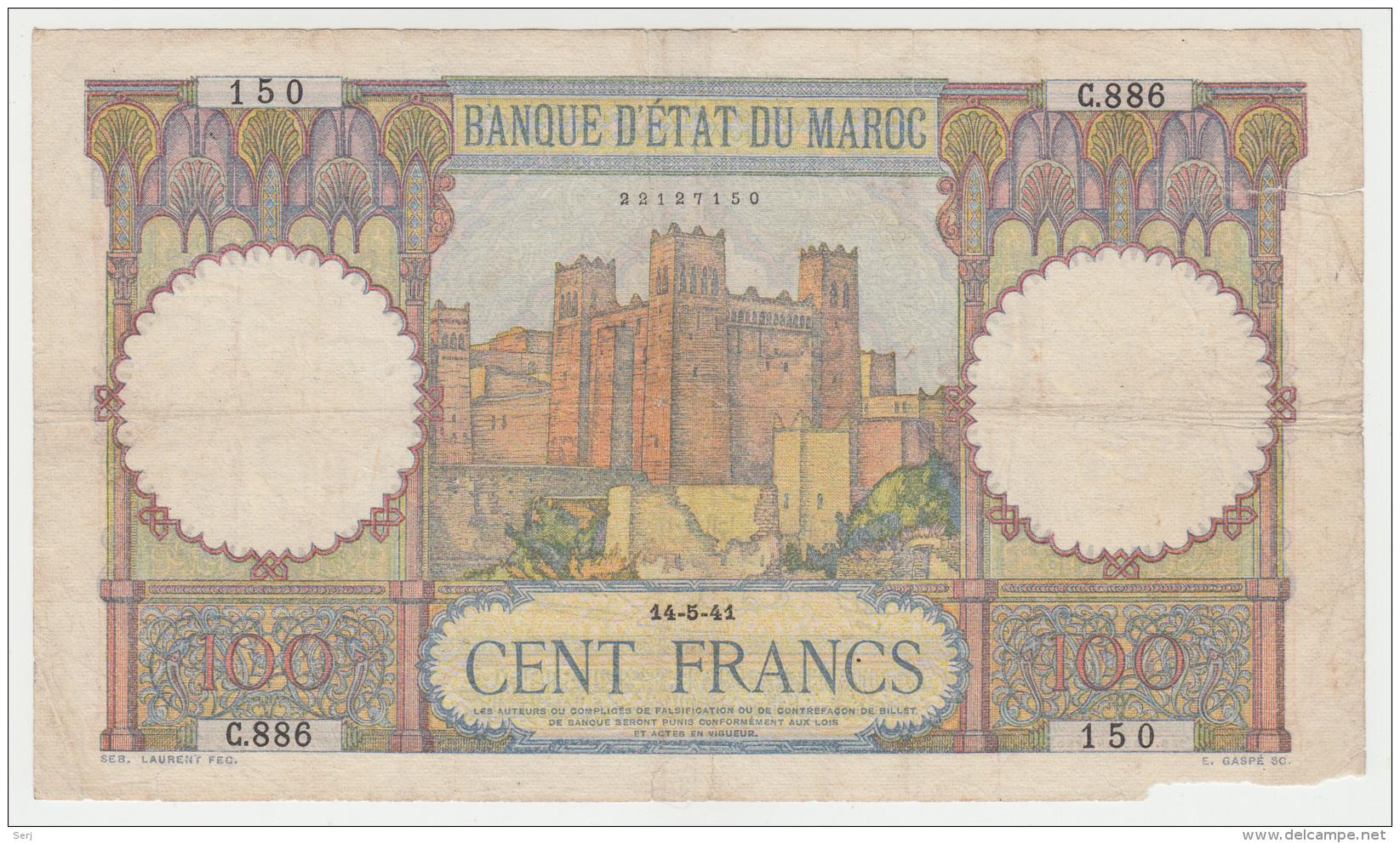 Morocco 100 Francs 1941 G-VG Banknote Pick 20 - Morocco