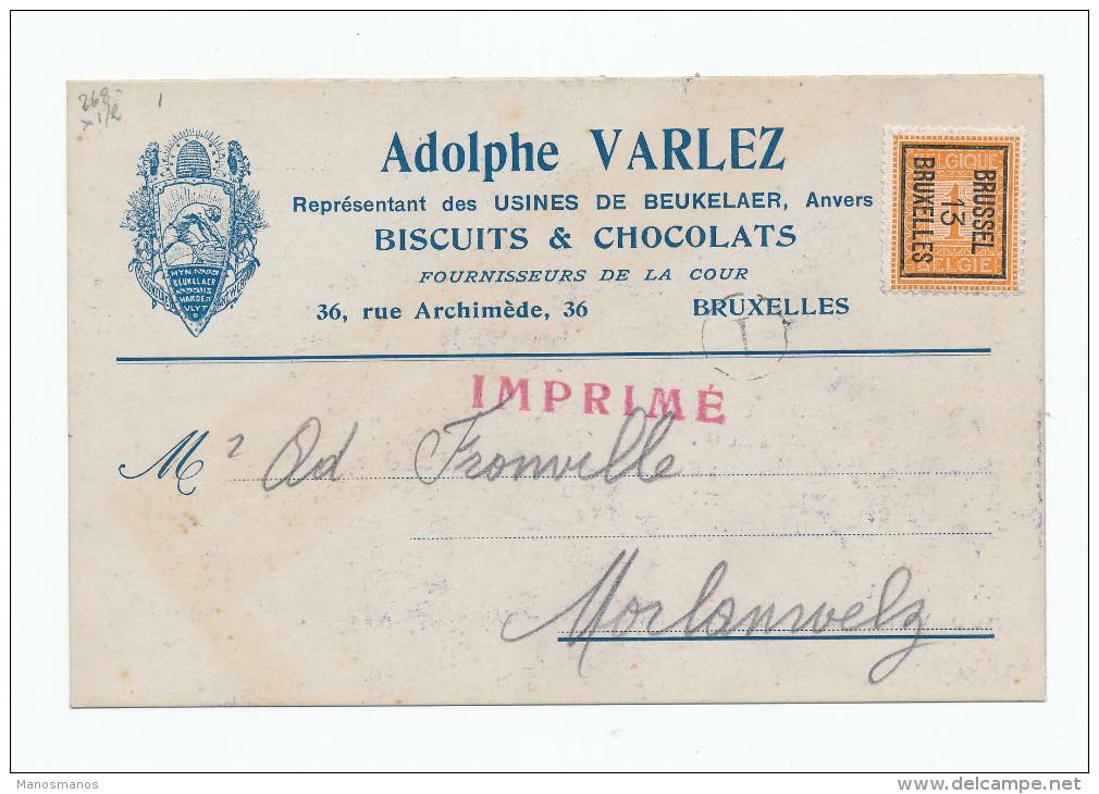 976/23 - Carte Publicitaire PREO Bruxelles 1913 - Biscuits Et Chocolats De Beukelaer , Anvers - ABEILLES - Precancels