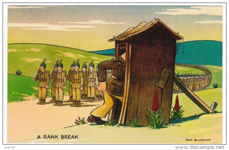 Don Bloodgood Artist Signed Army Humor, 'A Rank Break' Officer Stops March For Toilet, C1950s Vintage Postcard - Humour