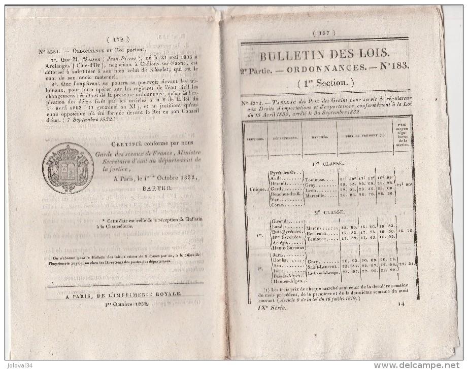 Bulletin Des Lois N° 183 - 1832 - Marine, Port Vendre Pyrénées Orientales - Décrets & Lois