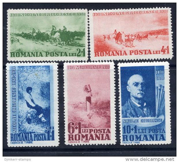 . ROMANIA 1938 Grigorescu Centenary Set  MNH / **.  Michel 564-68 - Unused Stamps