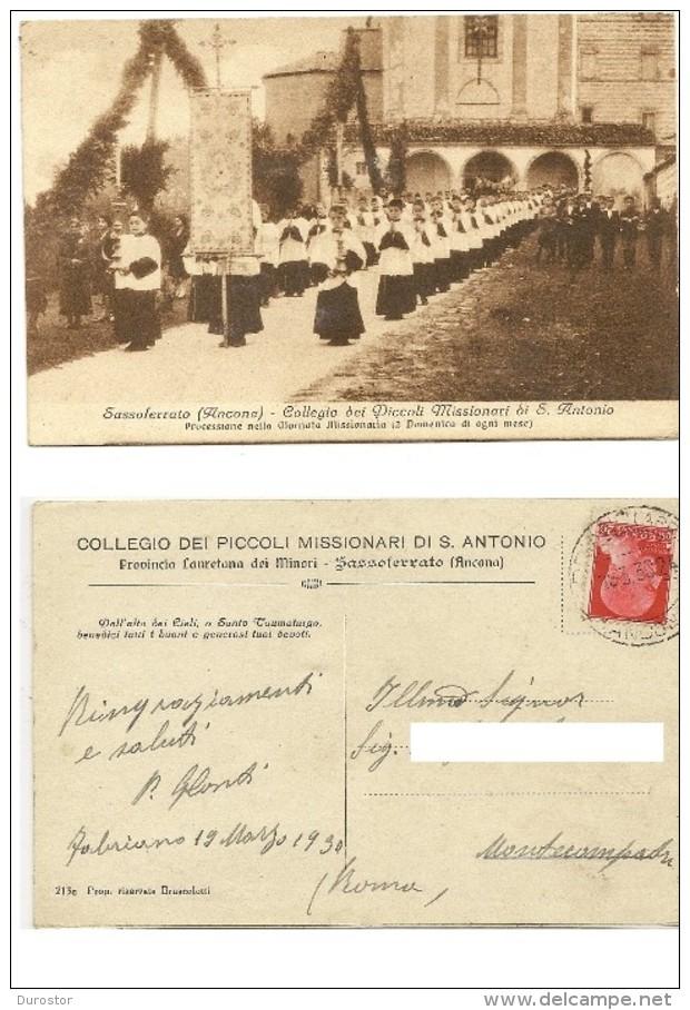 Sassoferrato Ancona Collegio Dei Picoli Missionari Di S. Antonio, Viaggiata Il 19.3.1930 - Ancona