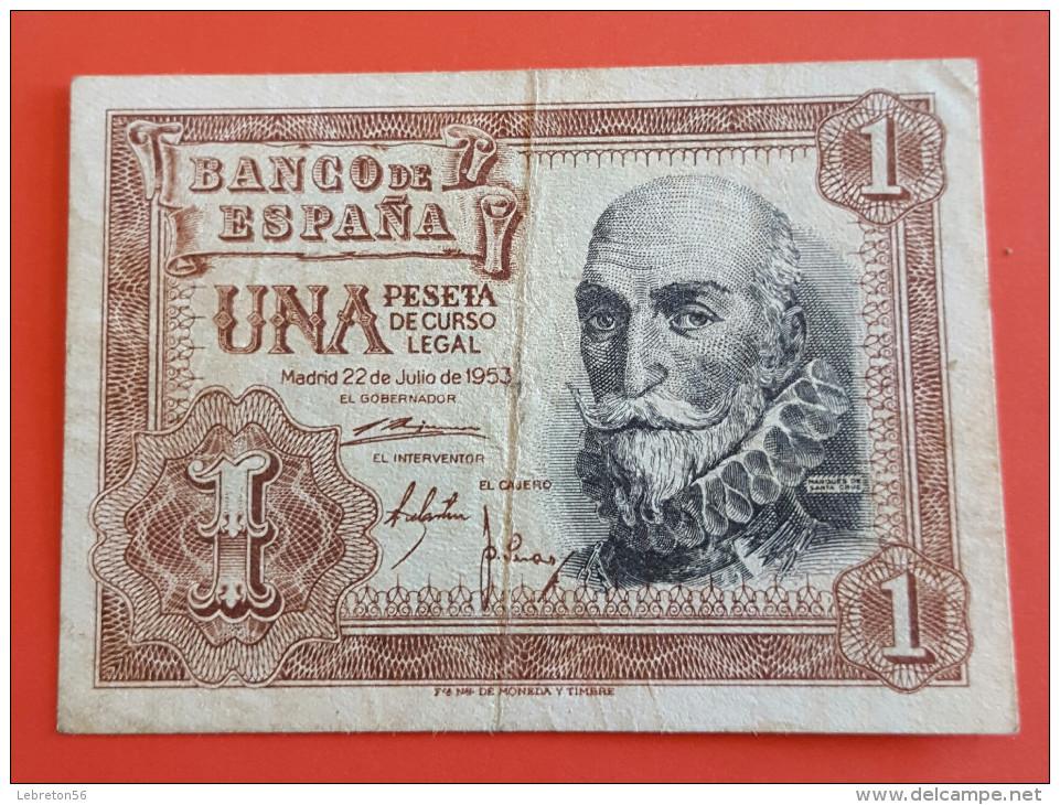 Banque D´ ESPAGNE UN  Pésétas Du 22 Juillet 1953 Joli Voir Les 2 Photos - [ 3] 1936-1975 : Régence De Franco