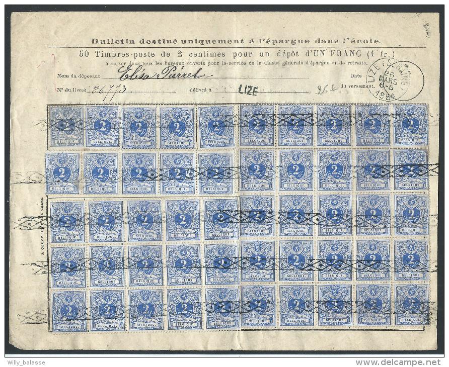 Bordereau De Caisse D´épargne Affr N°27 X 50 Roulette + Càd CHAPELLE-LEZ-HERLAIMONT/1884 - 1869-1883 Léopold II