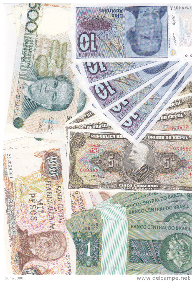 Lot 50 Billets Banknotes Amérique Du Sud South America (Argentina & Brazil, FDC, Uncirculated) - Billets