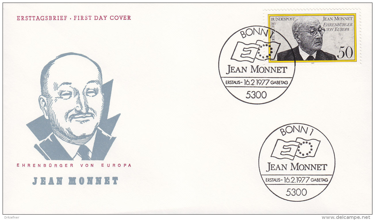 EUROPA, CEPT-Mitläufer: BRD 926, FDC, Ernennung Von Jean Monnet Zum Ehrenbürger Europas,  1977 - Europa-CEPT