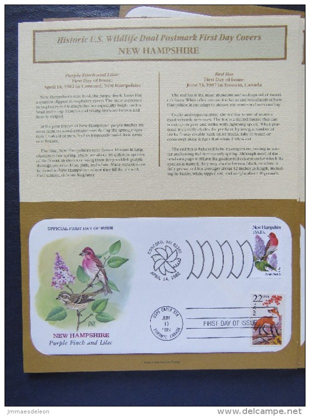 USA 1982 + 1987 FDC Covers Two Sets Birds And Wildlife Of 50 States - Stati Uniti