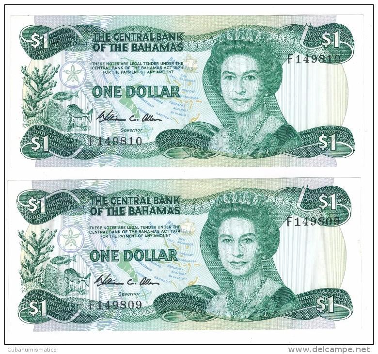 Bahamas 1 Dollar X2 Consecut. Numbers, XF,  Free Ship. To USA. - Bahamas