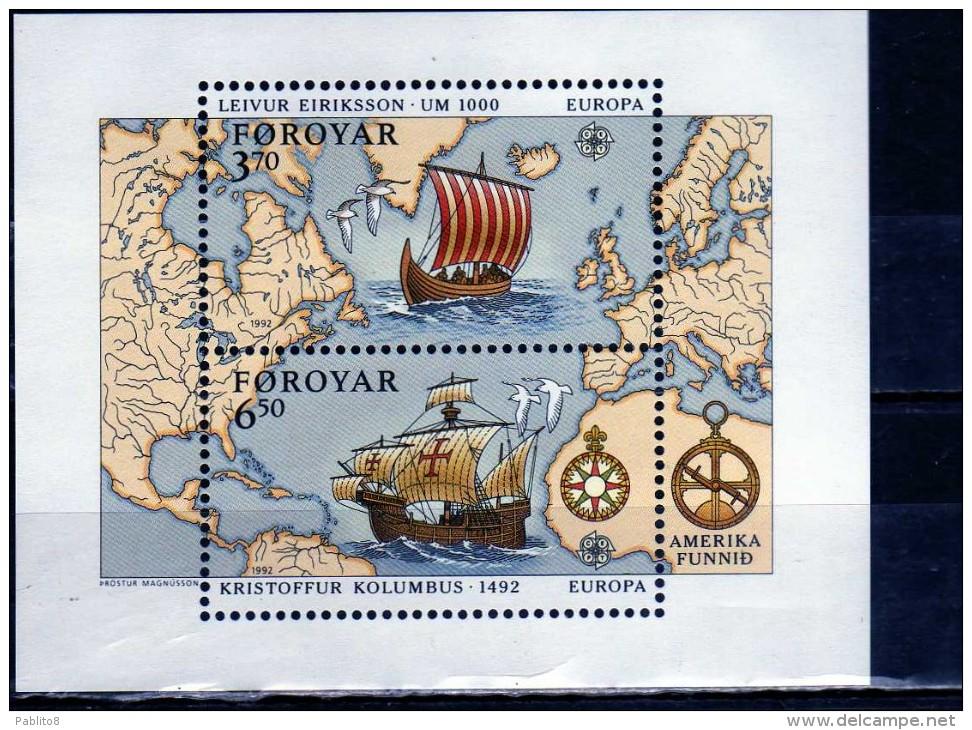 FAEROER FAROE ISLANDS Féroé Faroer Føroyar 1992 EUROPA CEPT UNITA BLOCK SHEET BLOCCO FOGLIETTO MNH - Isole Faroer