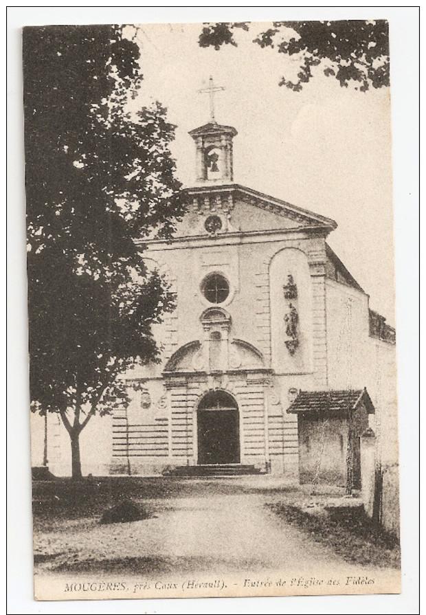 34 Mougères, Près Caux, Lot De 2 Cartes : Chapelle Des Pères /entrée De L'église Des Fidèles  (A6p9) - France