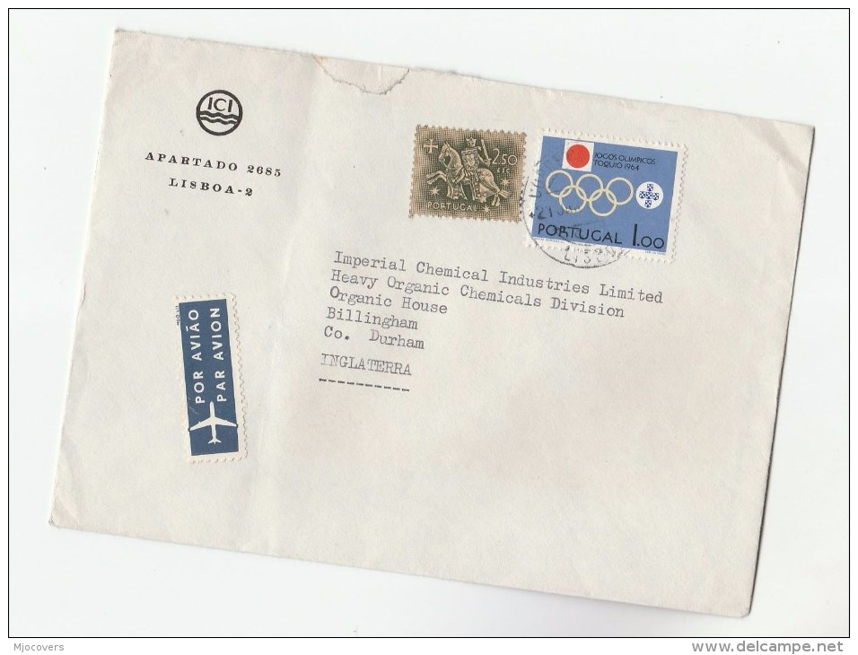 Air Mail PORTUGAL COVER Stamps 1964 TOKYO OLYMPICS To GB Olympic Games  Airmail Label - Summer 1964: Tokyo