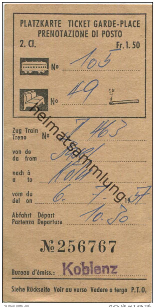 Schweiz - Platzkarte Prenotazione Di Posto - 1957 2. Classe - Raucher Fr. 1.50 Basel Köln - Sonstige