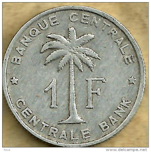 BELGIAN CONGO 1 FRANC PALM TREE FRONT SHIELD BACK 1957 VF/VF KM4 READ DESCRIPTION CAREFULLY !!! - 1951-1960: Baldovino I