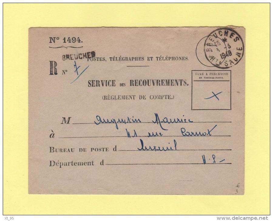 Breuches - Haute Saone - 1948 - Service Des Recouvrements - 1921-1960: Moderne