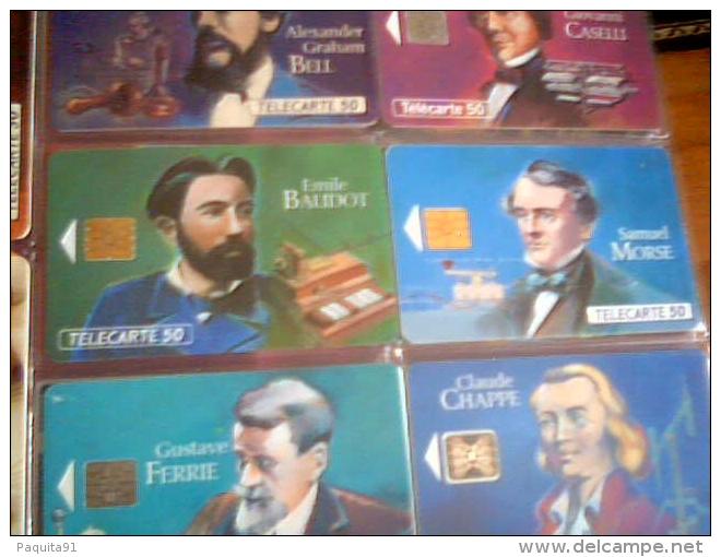"""Lot De 9 Telecartes """"les Grandes Figures De La Télécommunication"""",1993 - Télécartes"""