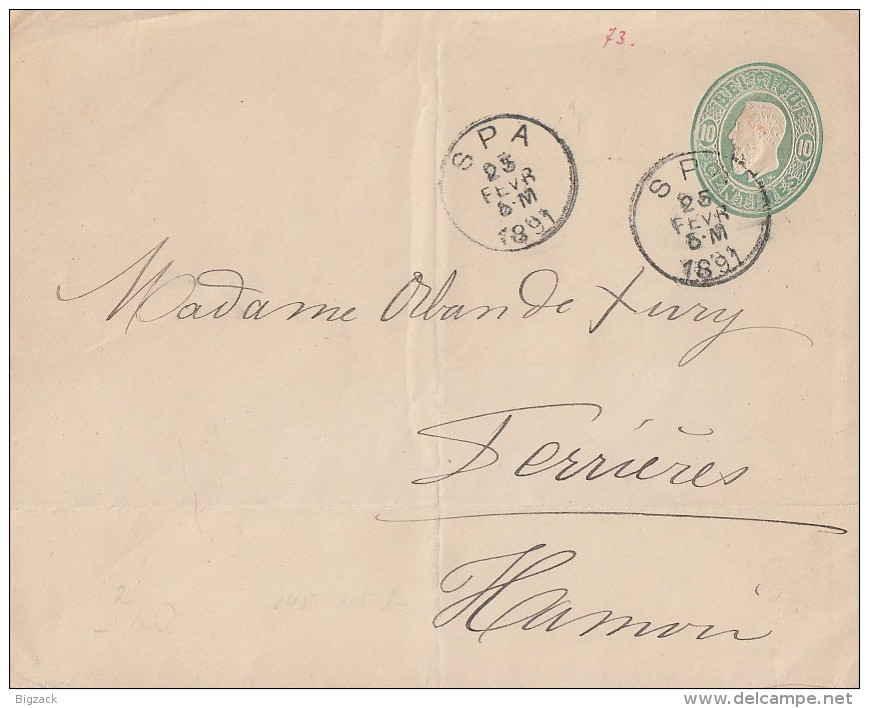 Belgien GS-Umschlag Spa 25.2.1891 - Ganzsachen