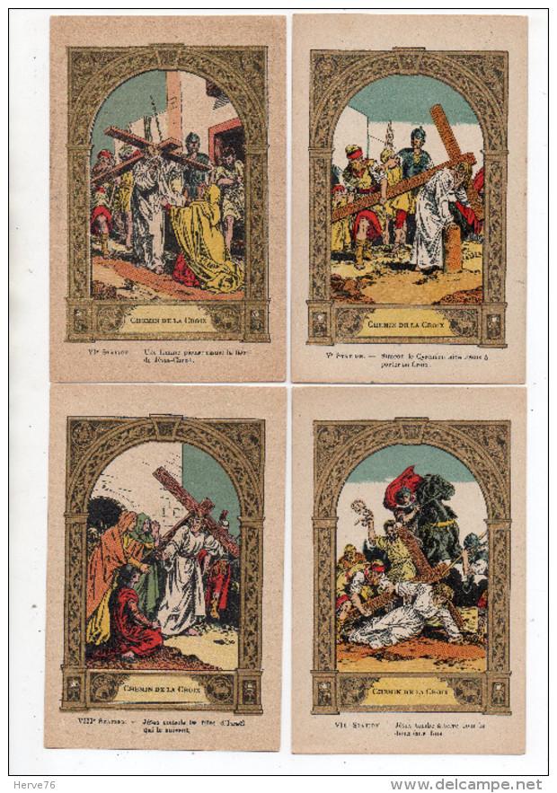 LOT 12 Chromos - Images Religieuses - Jésus - Chemin De La Croix - Dorure - (format CPA) - Andachtsbilder