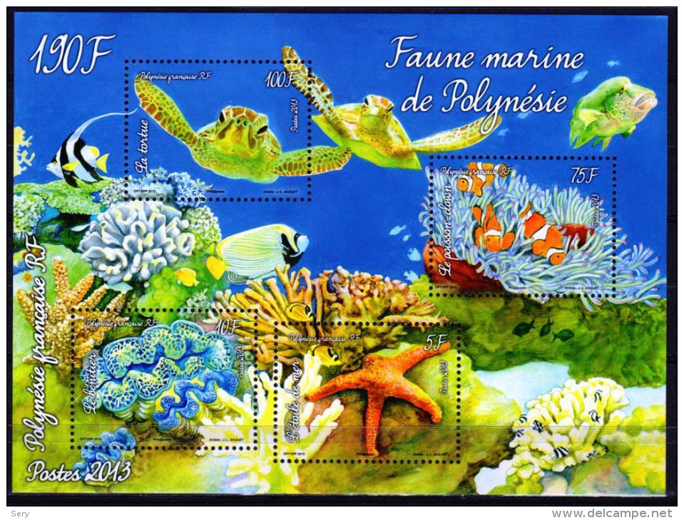 Polynesie Francaise 2013  Bloc 4 V  MNH Faune Marine Tortue Fish Turtle Schildkröte Etoile De Mer   Corals - Vita Acquatica