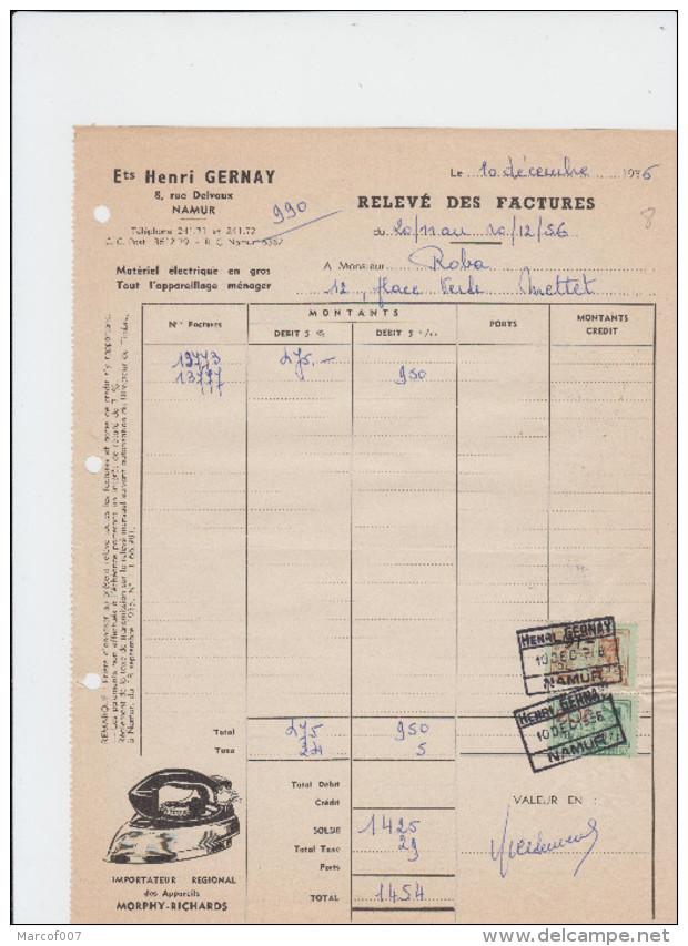 NAMUR - HENRI GERNAY - MATERIEL ELECTRIQUE/APPAREILLAGE MENAGER - FACTURE - 1956 - Petits Métiers
