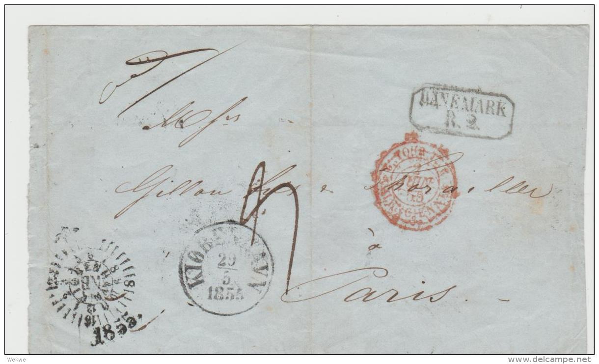DK-V008 / Kopenhagen - Paris 1855 Via Hamburg, Briefhülle - 1851-63 (Frederik VII)