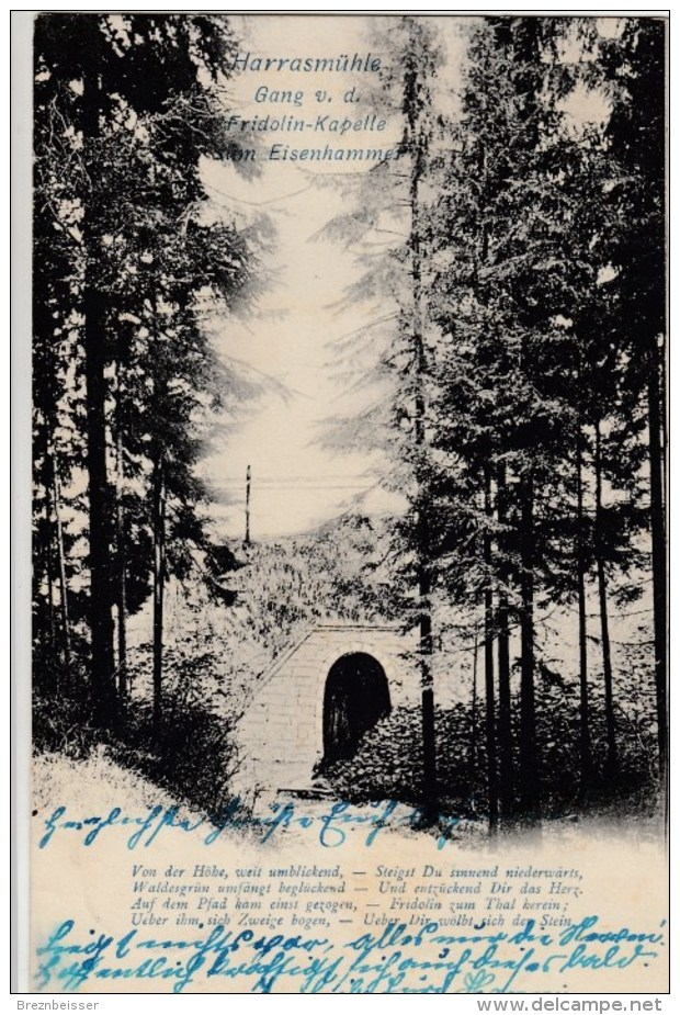 AK Harrasmühle - Gang V. D.Fridolinkapelle   -   Karte Gebr. 1906 - Neustadt / Orla