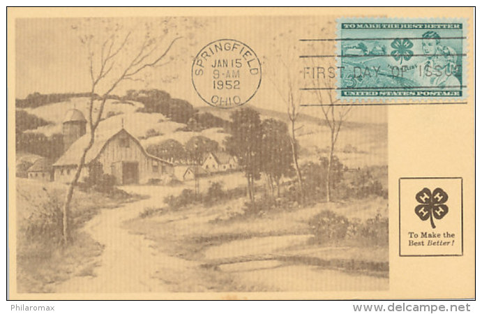 D25053 CARTE MAXIMUM CARD FD 1952 USA - AMERICAN FARM - CLOVER CP ORIGINAL - Architecture