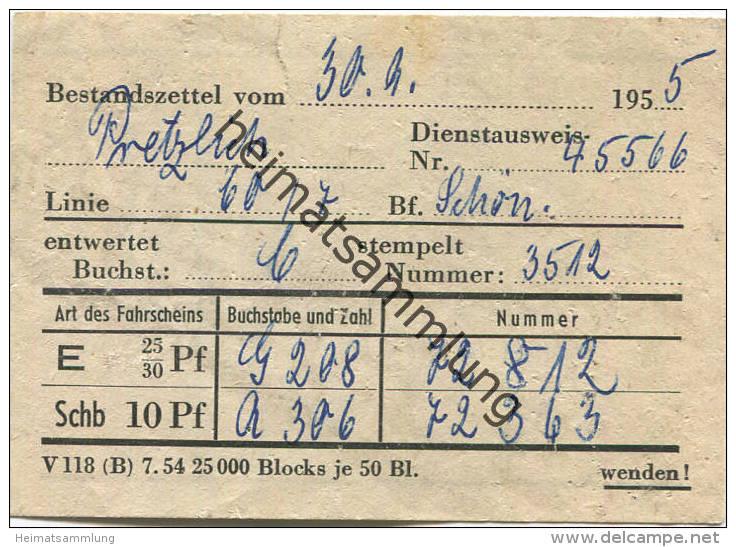 Berlin - BVG - Bestandszettel Vom 30.9.1955 - Linie 60 Bahnhof Schöneberg - Transporttickets