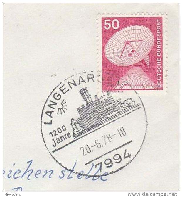 1978 Cover LAGENARGEN CASTLE 1200th Anniv Event Pmk Stamps Germany - Castles
