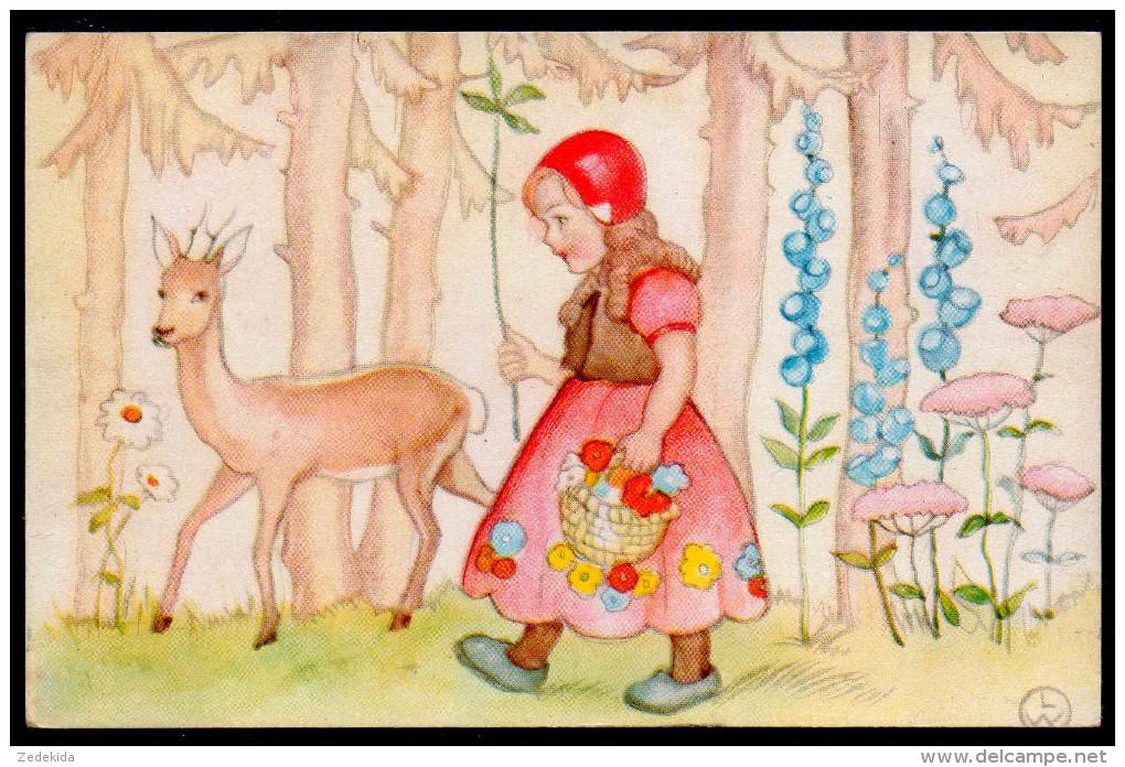 5875 - Alte Glückwunschkarte - Märchen Rotkäppchen - LW - Geburtstag
