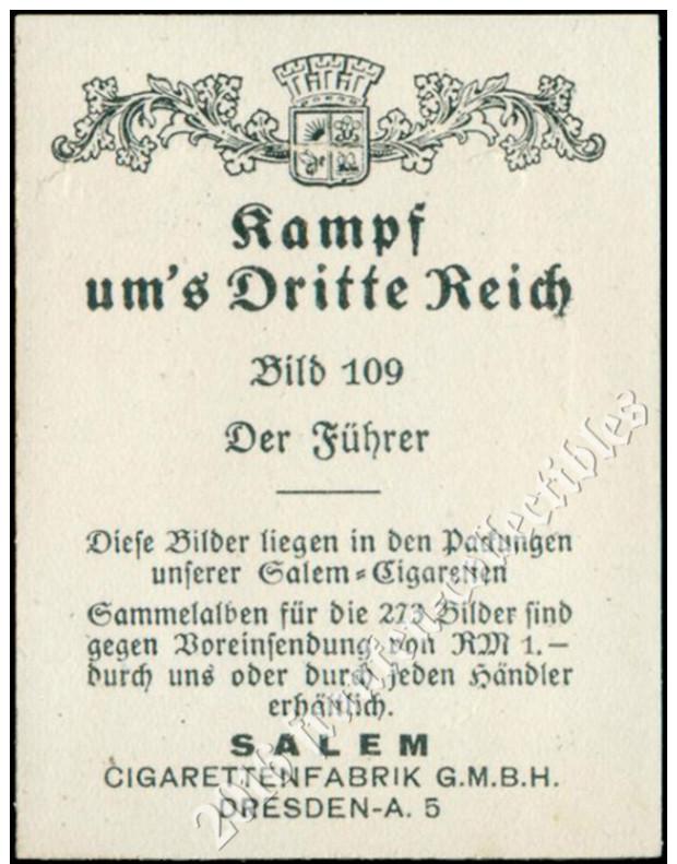 1933 Salem Card: Adolf Hitler (D00001-01) - Sigaretten