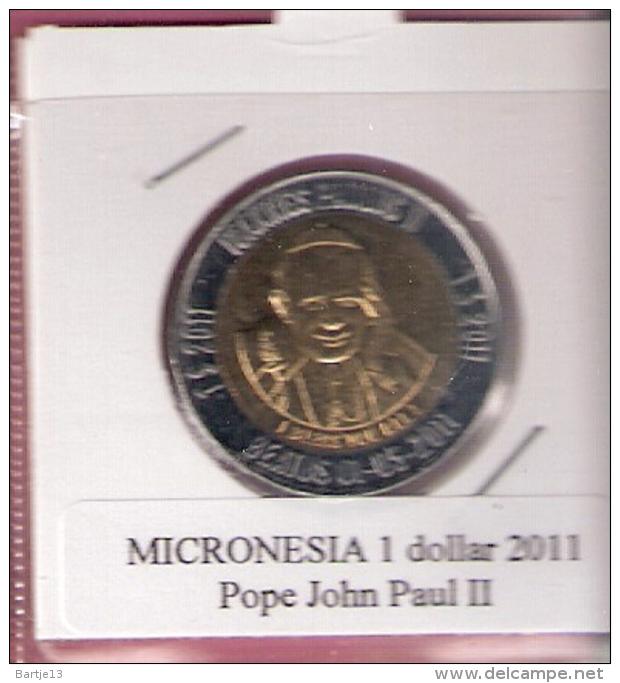 MICRONESIE 1 DOLLAR 2011 POPE JOHN PAUL II BIMETAL UNC NOT IN KM ZONDER 4 STERREN - Micronésie