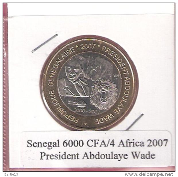 SENEGAL 6000 CFA 2007 PRESIDENT ABDOULAYE WADE BIMETAL UNC NOT IN KM - Sénégal