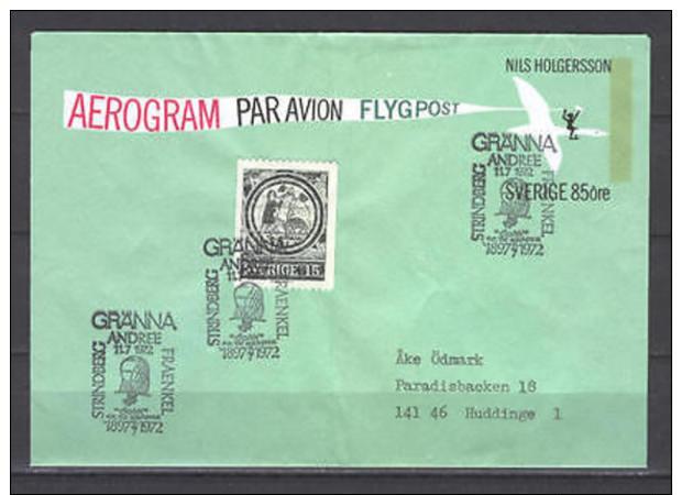 Sweden 5300 Cover 1972 Aerogram Granna Airmail - Zweden