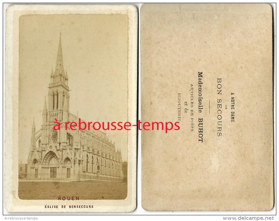 CDV  Rouen-Eglise De Bonsecours-dos Intéressant-vendu Par Mademoiselle Buhot Articles De Piété Et De Bijouterie - Old (before 1900)