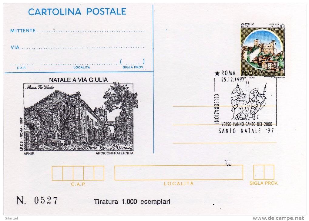 Italia 1997 Cartolina Postale IPZS Natale A Via Giulia Annullo Roma Con Retrostampa - 6. 1946-.. Repubblica