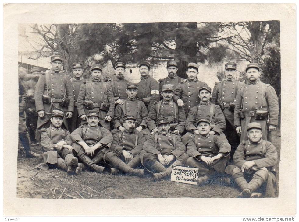 Photo Format 120mm Par 88mm - Campagne 1914 -15   306 - 22è Compagnie - 10è Escouade - Guerre 1914-18
