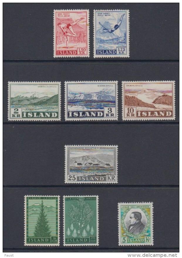 1957 ** Islande (sans Charn., MNH, Postfrish) Complete Yv 272/80  Mi 314/22  FA 348/56  (9v) - Komplette Jahrgänge