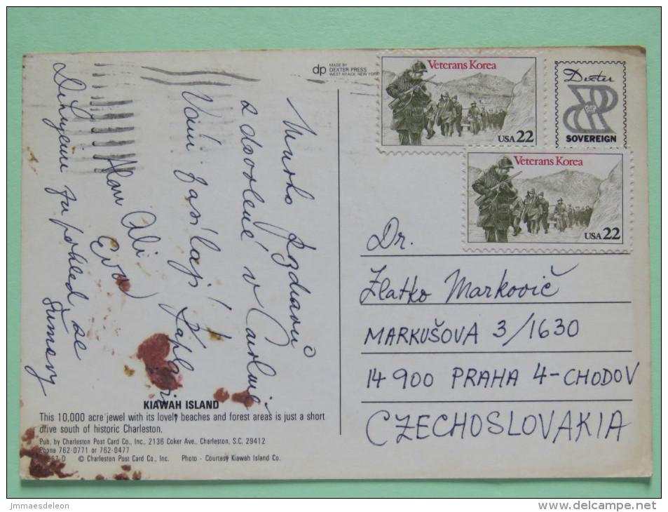 """USA 1987 Postcard """"Kiawah Island"""" To Czechoslovakia - Vietnam War Veterans - Etats-Unis"""