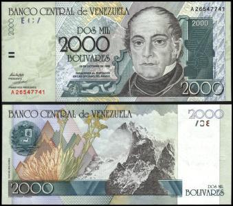 Venezuela #80, 2.000 Bolívares, 1998, UNC / NEUF - Venezuela