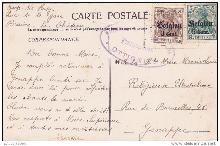 Germania BELGIEN 3c + 5c + CENSURE OTTIGNIES  Sur CP De Braine Le Chateau > Genappe - Guerra 14 – 18