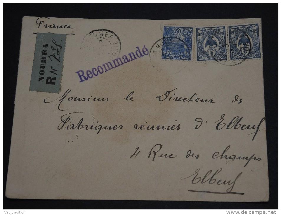 NOUVELLE - CALÉDONIE - Enveloppe En Recommandée De Nouméa Pour Elbeuf En 1923 , Affr. Plaisant - A Voir - L 1257 - Nieuw-Caledonië