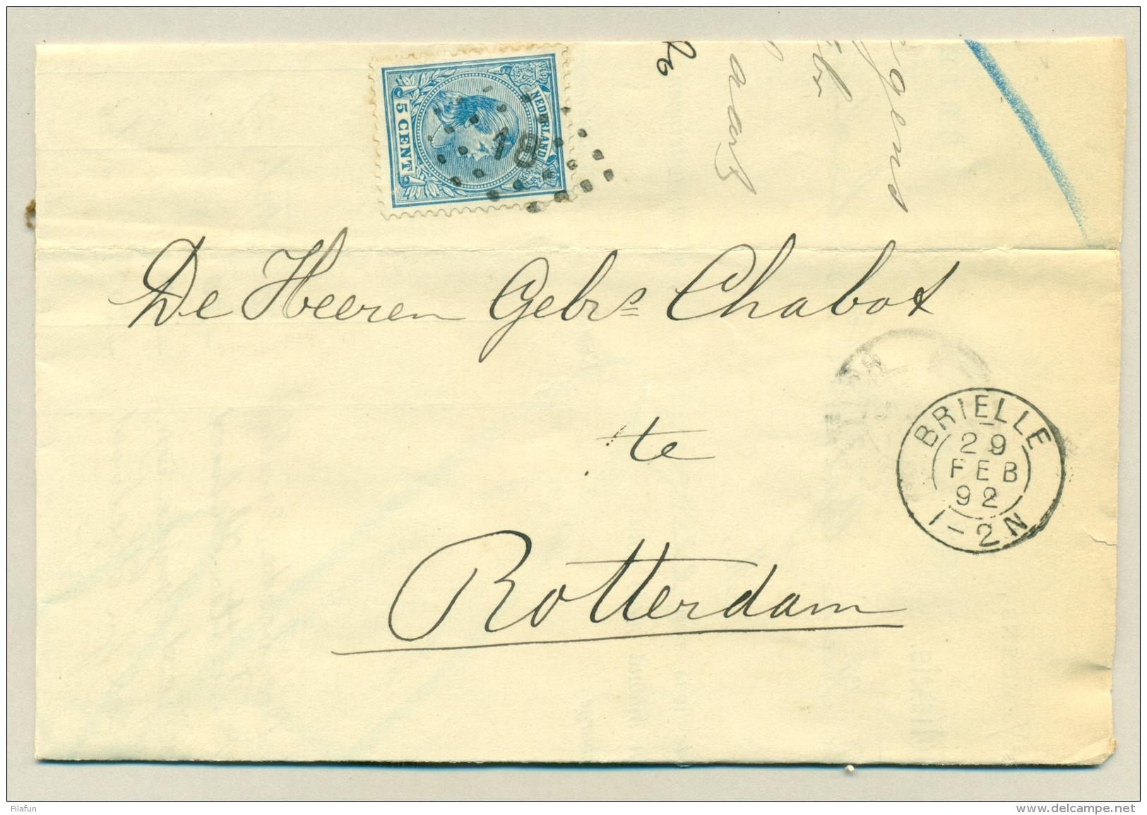 Nederland - 1892 - 5 Cent Hangend Haar Op Vouwbrief Met Kleinrond En Puntstempel Brielle Naar Rotterdam - Period 1891-1948 (Wilhelmina)