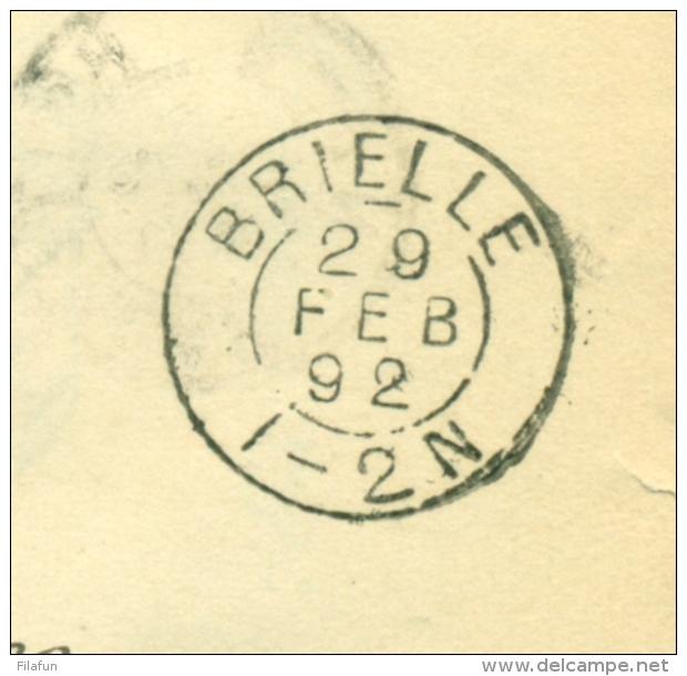 Nederland - 1892 - 5 Cent Hangend Haar Op Vouwbrief Met Kleinrond En Puntstempel Brielle Naar Rotterdam - Covers & Documents