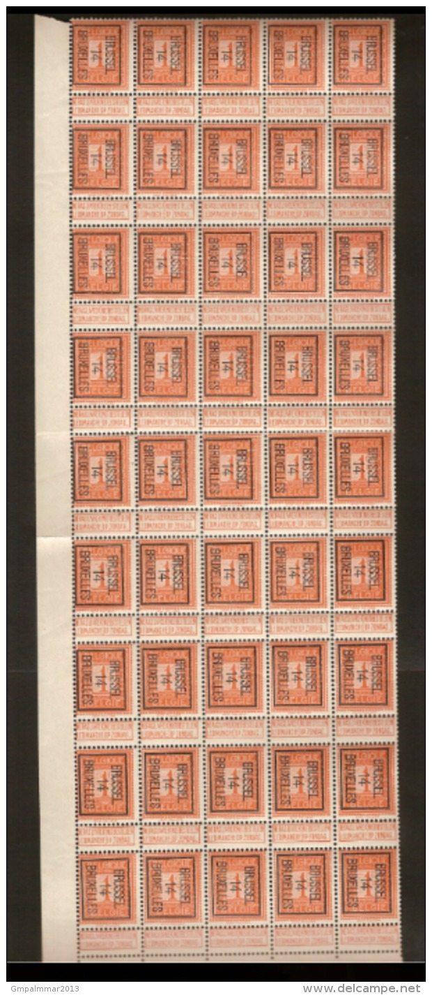 PELLENS Cijfer Nr. 108 Voorafgestempeld Nr. 45 B  BRUSSEL 14 BRUXELLES Blok Van 45 ** MNH  ; Staat Zie Scan ! - Typo Precancels 1912-14 (Lion)