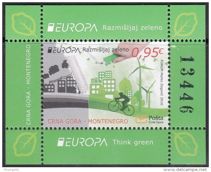 Montenegro 2016 Europa CEPT, Think GREEN, Environment, Bicycle, Block, Souvenir Sheet, MNH - Europa-CEPT
