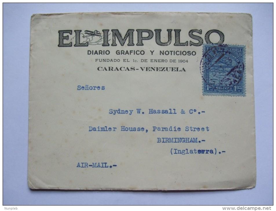 VENEZUALA 1933 COVER CARACAS TO BIRMINGHAM ENGLAND WITH 1.95 AIR MAIL STAMP - Venezuela