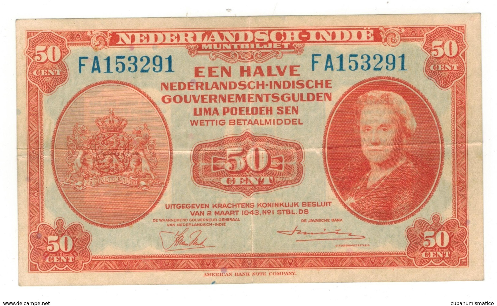 Netherlands Indies, 50 Cent, 1943.  XF. Free Ship. To USA. - Dutch East Indies